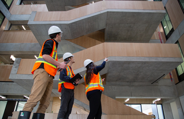 Students explore the atrium of the Myhal Centre during a tour. (Photo: Laura Pedersen)