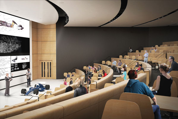 The Lee and Margaret Lau Auditorium is designed instead around audience engagement and interaction. (Image courtesy Montgomery Sisam Architects & Feilden Clegg Bradley Studios)