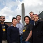 U of T Engineering's CERT team, led by Alex Ip (ECE PhD 1T5, second from left) is one of just five teams from academia and industry to advance to the finals of the international NRG COSIA Carbon XPRIZE competition, where they hope to bring home the $7.5-million grand prize for their carbon-capture and conversion technology. (Credit: Laura Pedersen).