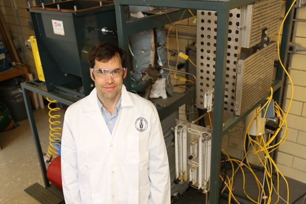 Professor Nikolai DeMartini develops new strategies to help pulp and paper mills deal with contaminants such as salts and metals in their processes. (Photo: Tyler Irving)