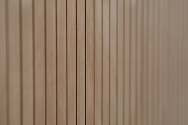 Baltic birch paneling on the outside of the Lee & Margaret Lau auditorium, which occupies the first and second floors. (Photo: Laura Pedersen)