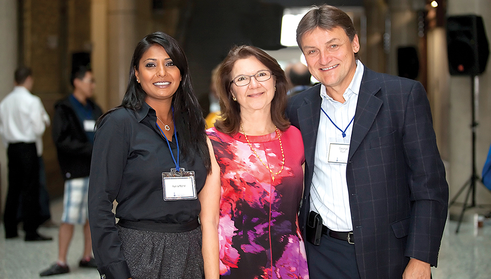 From right: George Myhal, Dean Cristina Amon and Rayla Myhal.