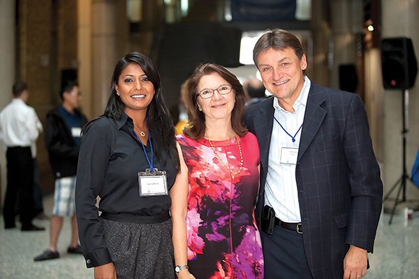 From right: George Myhal (IndE 7T8), Dean Cristina Amon and Rayla Myhal. As the finishing touches are made on the eight-storey building ahead of its official opening on April 27, George and Rayla Myhal have bolstered their commitment to engineering innovation and entrepreneurship with a generous gift that will name the new building in their honour.