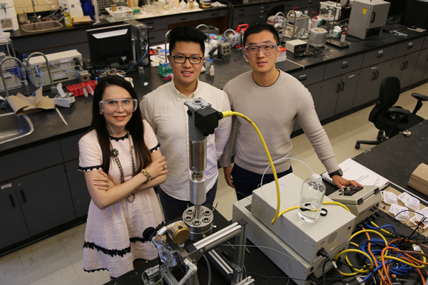 Professor Gisele Azimi (ChemE, MSE), seen here with PhD candidate Bill Yao and undergraduate researcher Jiakai (Kevin) Zhang, leads a team dedicated to recovering strategic materials such as rare earth elements from both pre-consumer and post-consumer waste streams. (Photo: Tyler Irving)