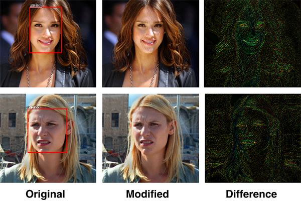 Researchers in U of T Engineering have designed a 'privacy filter' that disrupts facial recognition algorithms. The system relies on two AI-created algorithms: one performing continuous face detection, and another designed to disrupt the first. (Credit: Avishek Bose).