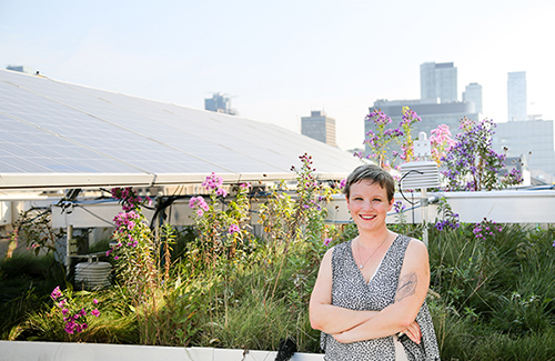 Professor Jennifer Drake, an expert in stormwater systems, is pictured in the GRIT Lab green roof at U of T
