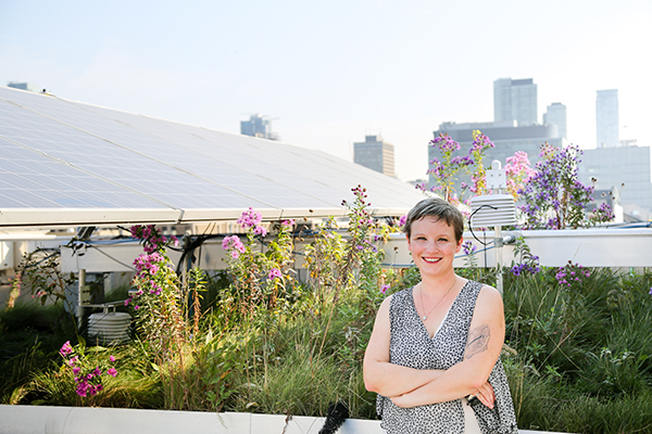 Professor Jennifer Drake (CivMin), an expert in stormwater systems, is pictured in the GRIT Lab green roof at U of T. Drake is receiving the 2018 Young Engineer Medal from the Ontario Professional Engineer Awards. (Credit: Tyler Irving)