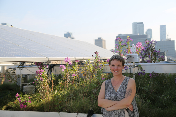 Professor Jennifer Drake studies the effectiveness of infrastructure—including this green roof—that is designed to provide a more natural flow of rainwater back into lakes, rivers and groundwater reservoirs. (Photo: Tyler Irving)