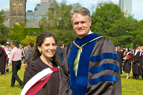 Professor William Cluett (right) with a student at University of Toronto convocation. The President's Teaching Award is U of T's highest honour for teaching.