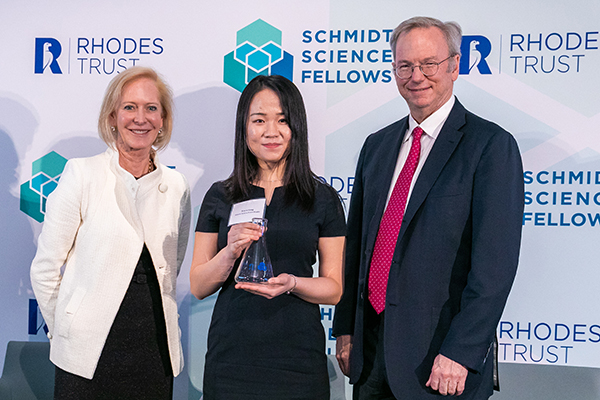 Xiwen Gong (ECE PhD candidate, centre) with Wendy and Eric Schmidt. The Schmidt Science Fellows program administered in partnership with the Rhodes Trust provides postdoctoral opportunities in areas different from those in which they completed their PhD research. (Courtesy: Schmidt Science Fellows).