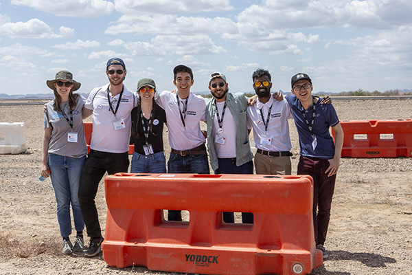 Members of the aUToronto team at the inaugural AutoDrive Challenge competition at General Motors Proving Grounds in Yuma, Ariz. (Credit: SAE International).