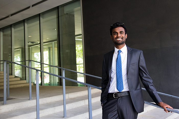 Anston Emmanuel (MechE 1T&+PEY) says his startup experience at The Entrepreneurship Hatchery helped him clinch a coveted engineering job at General Motors, one of several multinational companies keen to boost innovation in its ranks. (Credit: Chris Sorensen)