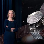 Cutline: Janis Chodas, the director for engineering and science at NASA's Jet Propulsion Laboratories, stands beside a one-third scale model of the Juno spacecraft (photo courtesy of JPL).