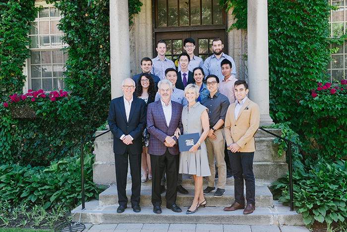 Alumnus William Troost (ChemE 6T7, front row, second from left) and Kathleen Troost (front row, second from right) celebrate with Troost ILead students, staff and faculty. The Troosts have made an additional gift of $3 million to support leadership education at the Faculty of Applied Science & Engineering. (Credit: Alan Yusheng Wu).