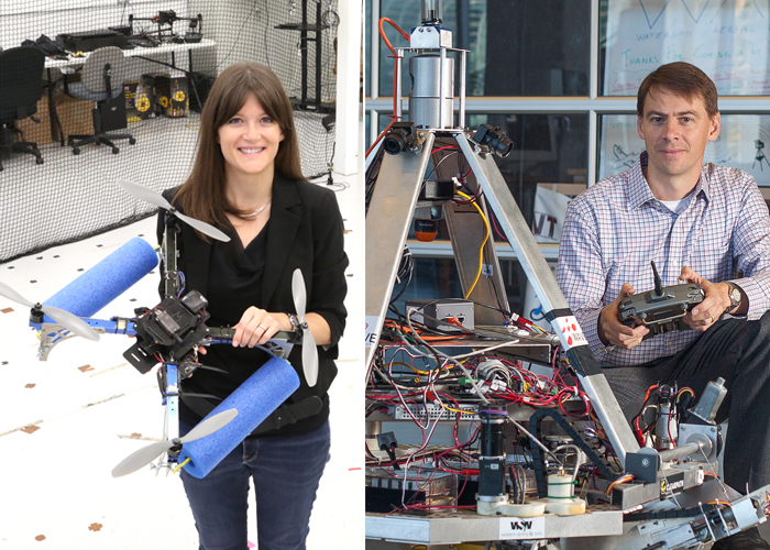 Professor Angela Schoellig (left) and Steven Waslander (both UTIAS) are at the forefront of NSERC Canadian Robotics Network that aims to advance Canada's role as a global leader in the field. (Credits from left: Tyler Irving, courtesy Steven Waslander)