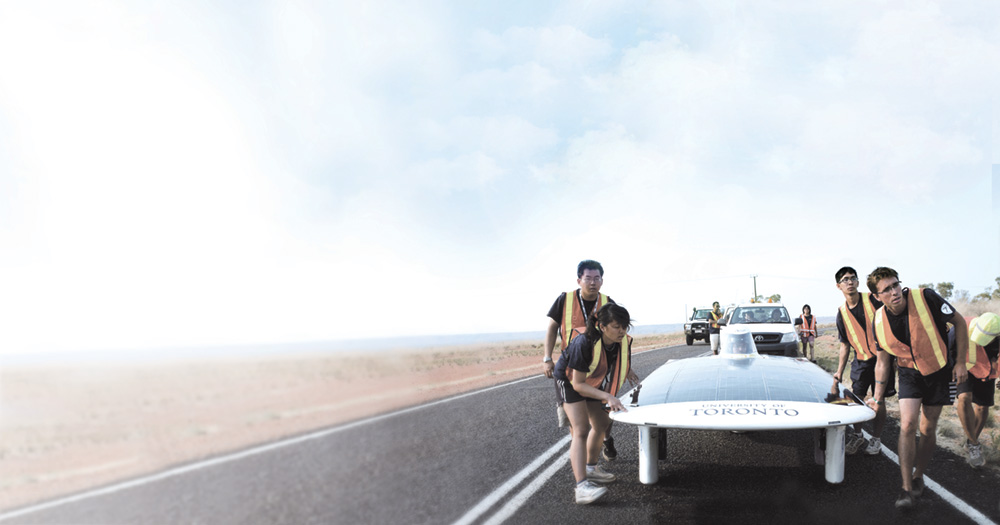 Blue Sky Solar Racing and their vehicle Horizon in the Australian outback