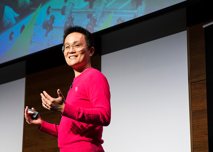 Allen Lau (ElecE 9T1, ECE MASc 9T2), co-founder of the story-sharing platform Wattpad, says Toronto is an ideal place to launch a global company as long as entrepreneurs take advantage of the city's diversity of cultures and languages. (Credit: Chris Sorensen)