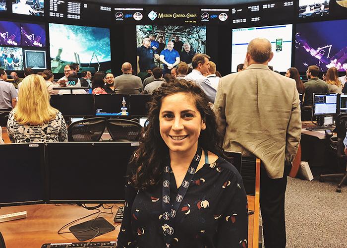 Kristen Facciol (EngSci0T9) in the Mission Control Centre of NASA's Johnson Space Center. Facciol has become the 14th Canadian to earn a CSA/NASA Robotics Flight Controller Certficiation. (Courtesy: Kristen Facciol/NASA)