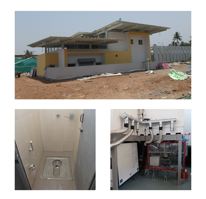 Top: The field test site in Coimbatore, India. Bottom left: The user interface, which appears as a typical squat pan toilet stall. Bottom right: The prototypes installed below the stall to process the waste. (Images courtesy Samoil Vohra)