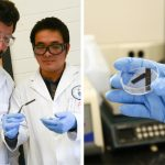 Pelayo Garcia De Arquer (left) and Cao-Thang Dinh (right) examine a wafer coated in their new catalyst, which lowers the amount of electricity required to split water into hydrogen and oxygen under pH-neutral conditions. (Photo: Tyler Irving)