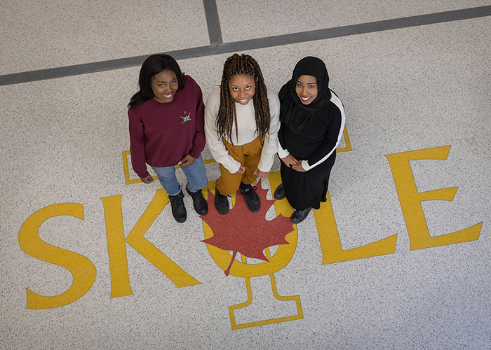 U of T students Temisan Iwere, Kyra Stephen and Ayan Gedleh (Year 4 IndE) – executives in the U of T chapter of the National Society for Black Engineers – are organizing the first university student-run Black hackathon in the GTA (Credit: Geoffrey Vendeville)