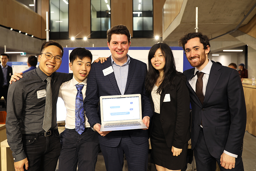 This MCP team developed an AI-enabled conversational claim-reporting bot for home and auto insurance companies. (Photo Credit: Liz Do)