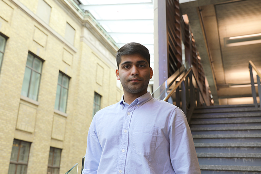 Kaushal Binani says he's especially enjoyed his interactions with his course professors. (Photo credit: Liz Do)