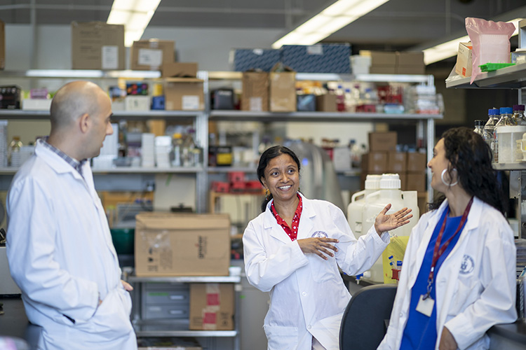 (L-R) Peter Stogios, Senior Research Associate, Meenakshi Venkatesan, Research Associate, and Rosa Di Leo, Research Technician, at the University of Toronto, Monday, July 29, 2019. Stogios' team, whose work in plant-based and cell-based meat research and development, was awarded a grant for US $250,000 from The Good Food Institute in Washington, D.C. (Photo by Nick Iwanyshyn)