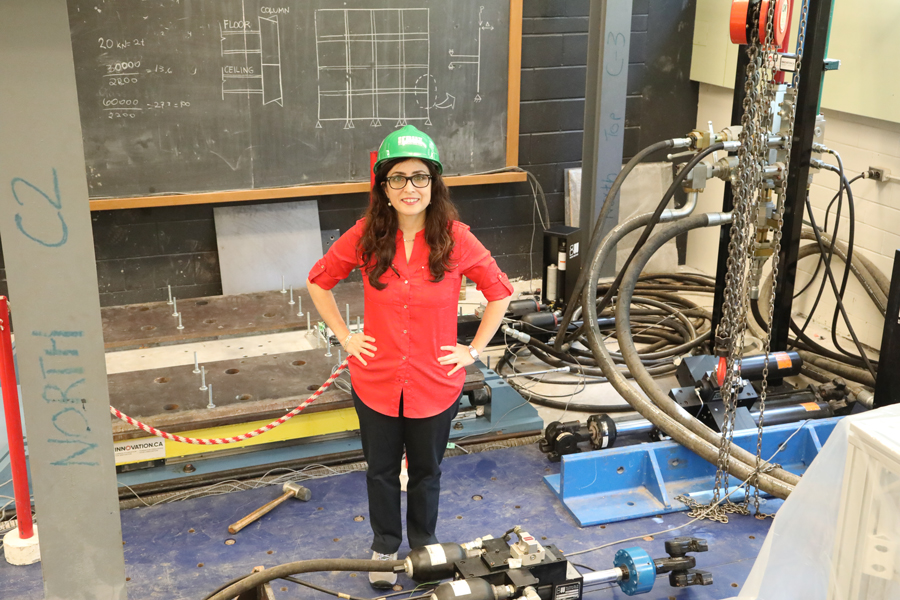 Professor Oya Mercan combines computer models and experiments to study how building components stand up to high winds, earthquakes and other stressors. (Photo: Tyler Irving)