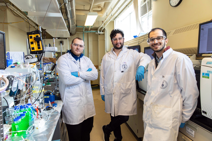 Left to right: Adnan Ozden (MIE PhD candidate), F. Pelayo García de Arquer (ECE postdoctoral fellow) and Joshua Wicks (ECE PhD candidate). (Photo: Daria Perevezentsev)