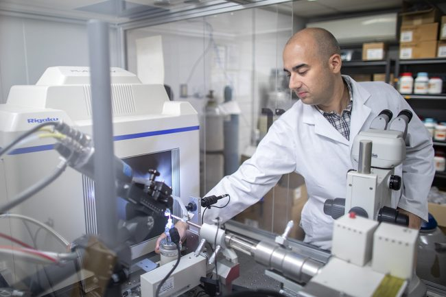 Senior Research Associate Peter Stogios (ChemE) is producing and analyzing viral proteins as part of the Toronto Open Access COVID-19 Protein Manufacturing Centre. (Photo Nick Iwanyshyn)