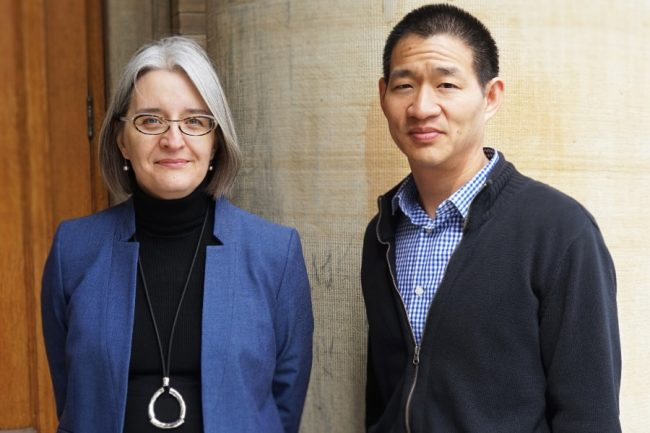 Professors Lisa Austin (Faculty of Law) and David Lie (ECE) — photographed before COVID-19 struck — are among a team of researchers and legal experts studying the privacy implications and the technology behind exposure notification apps. (Photo: Jessica MacInnis)