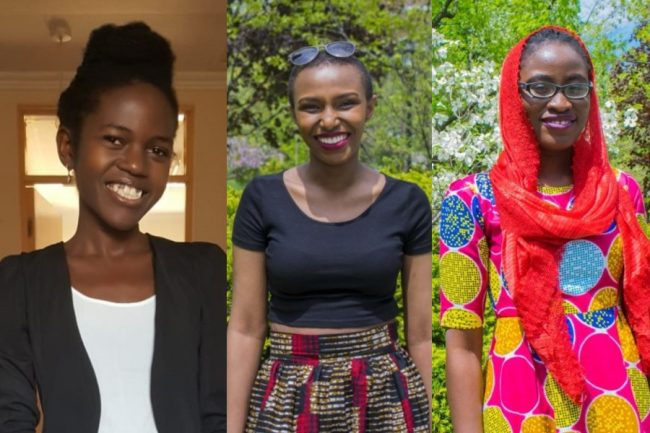 """From left: Lilian Kabelle (CivE MEng candidate), Marie Merci Ishimwe (ECE MEng candidate) and Ngone Lo (Faculty of Information). The team is building an """"engineering think tank"""" to counteract the impact of COVID-19 in East Africa. (Photos courtesy of Lilian Kabelle)"""