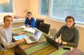 Left to right: Brothers Arnaud Deza (Year 3 EngSci), Daniel Deza (Year 1 EngSci) and Gabriel Deza (Year 4 EngSci) are all studying from home this semester. Their sister Anna Deza (EngSci 2T0) joins them online. (Photo: Emmanuel Deza)