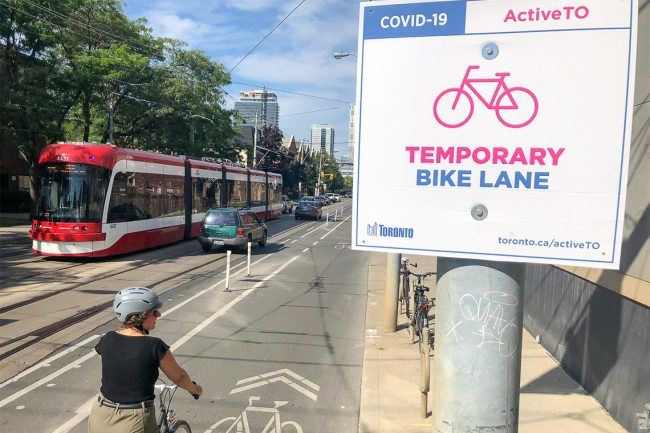 A study by U of T Engineering researchers found Toronto's temporary cycling infrastructure increased low-stress road access to jobs and food stores by between 10 and 20 per cent, and access to parks by 6.3 per cent (photo by Dylan Passmore)