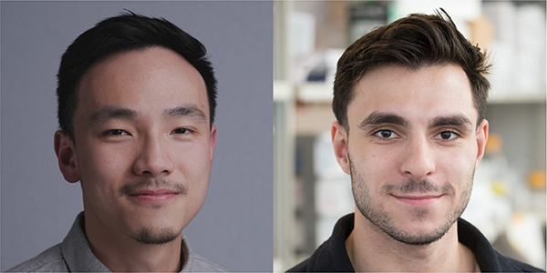 Left: Johnny Zhang, PhD candidate at the Institute of Biomedical Engineering and Department of Chemistry. Right: Ayden Malekjahani, PhD candidate at the Institute of Biomedical Engineering.