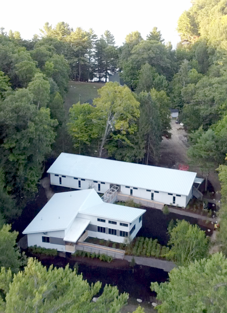 An aerial view of the new buildings at U of T Survey Camp on Saturday, August 14, 2021. (Photo: Phill Snel)
