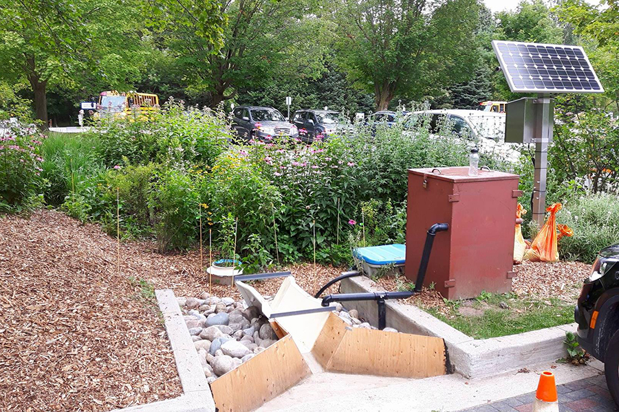 Studies carried out at this bioretention cell, located Kortright Centre for Conservation in Vaughan, Ont., suggest that engineered urban green infrastructure can help prevent some types of microplastics from getting into the environment. (Photo: Leanda Rhodes-Dicker)