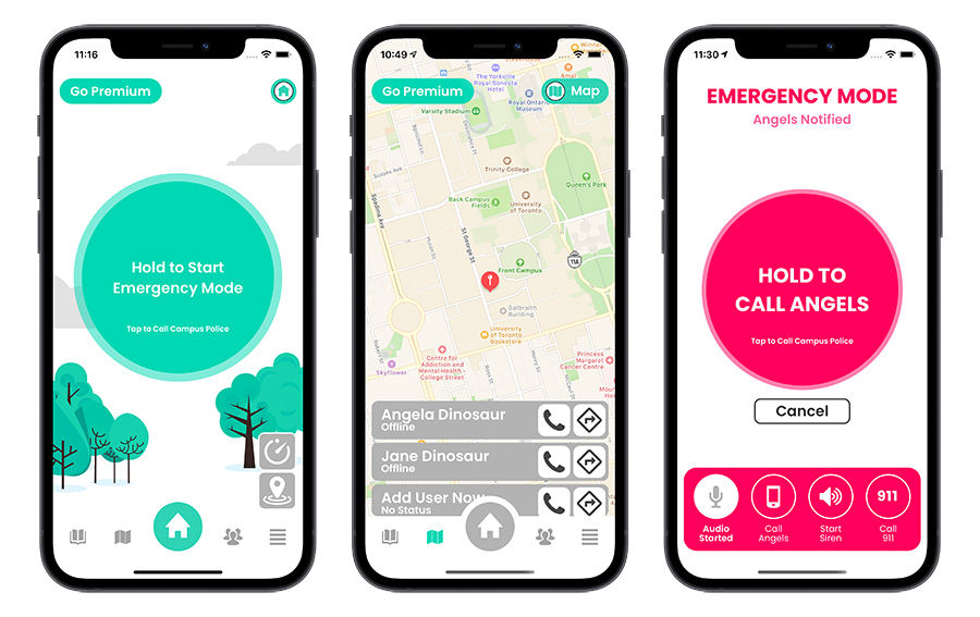 Haven enables users to share their location with a set of trusted contacts, as well as to quickly contact emergency services. (Image courtesy: Haven)