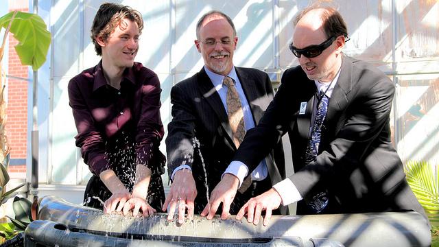 Ryan Janzen (left), Robert Bell (centre) and Steve Mann (right) play the hydraulophone together.