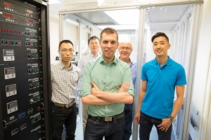Michael Helander (centre) is one of the Engineering alumni behind OTI Lumionics, a startup developing more efficient methods of manufacturing OLEDs (Photo: Roberta Baker).