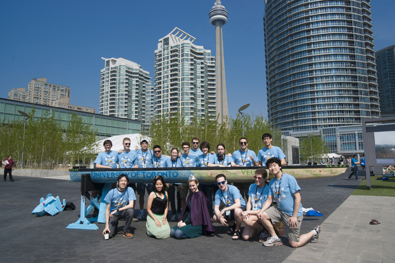UofT Engineering students with their concrete canoe