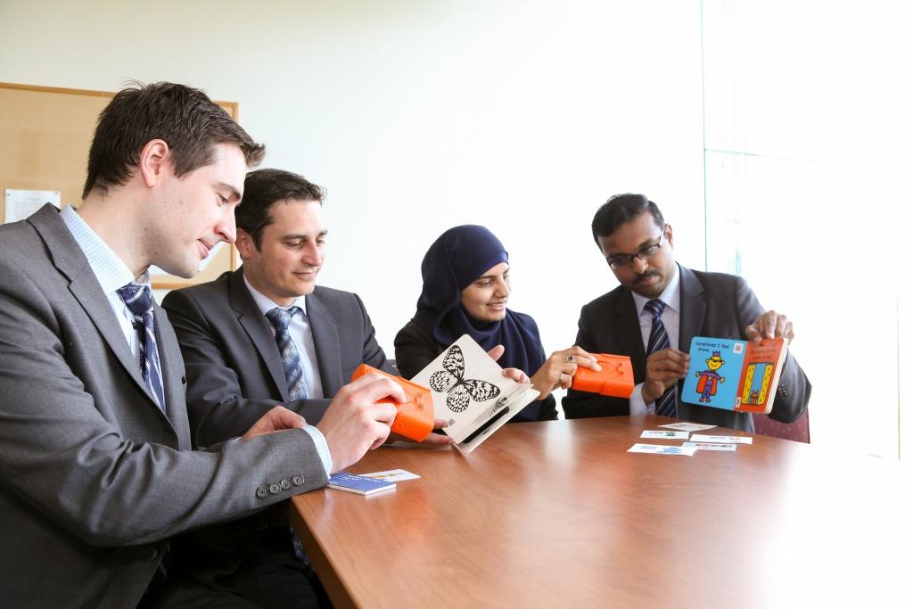 (L-R) Jamie Austin, Peter Cinat, Aisha Bukhari and Lak Chinta test an early prototype (Photo: Roberta Baker).