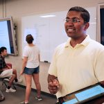 Professor Chirag Variawa teaches incoming first-year students in the Technology-Enhanced Active Learning (TEAL) room in the Sandford Fleming building. Variawa is an expert on identifying and eliminating barriers to learning for engineering students. (Credit: Marit Mitchell).