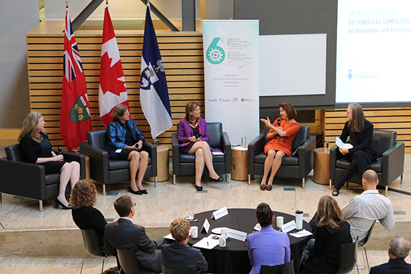 From right: Professor Sarah Kaplan moderates a panel on women in STEM and entrepreneurship featuring Dean Cristina Amon, Stephenie Foster, Genevieve Tanguay and Trina Alexson at the sixth Americas Competitiveness Exchange on September 27, 2016. (Credit: Roberta Baker)