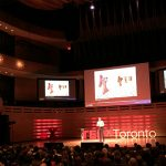 Calvin Rieder (Year 2 MIE) takes the stage at TEDxToronto 2016 to talk about his zero-cost atmospheric water condenser. (Credit: Engineering Strategic Communications)