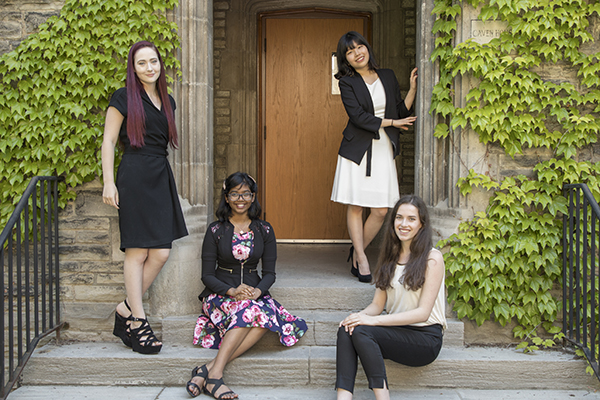 Deborah Emilia Solomon, second from left, is one of 37 top students from around the world receiving the inaugural Lester B. Pearson International Scholarship, which covers tuition, books, incidental fees and residence costs for four years. She is joining Chemical Engineering in Fall 2017. (credit: Johnny Guatto).