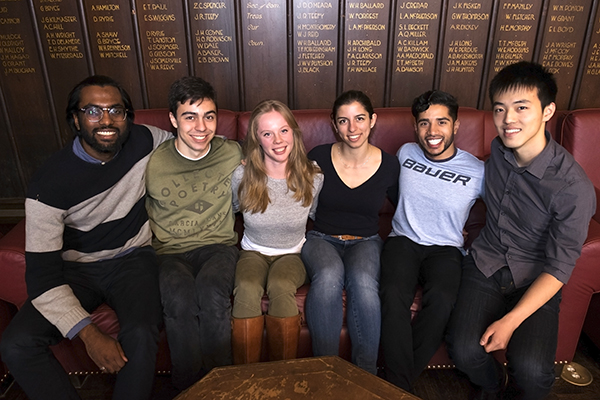 From left: Haroon Dawood, Jason Martins, Kate Lonergan, Stephanie Gaglione, Madhushan Pereraand Kevin Wang devised a way to make food, pharmaceuticals, fuel and biopolymers using compounds from the Martian atmosphere(Credit: Geoffrey Vendeville).