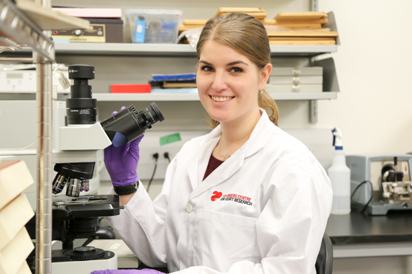 Bailey Bernknopf was born with heart defects. She's now researching a cure as a graduate student at U of T's Institute of Biomaterials and Biomedical Engineering (IBBME). (Photo: Tyler Irving)