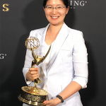 Vivienne Sze (ElecE 0T4) holds the Emmy her team won at the 69th Engineering Emmy Awards. The U of T Engineering alumna is now a professor at the Massachusetts Institute of Technology. (Photo: Minhua Zhou).
